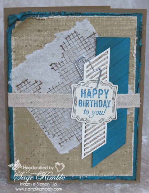 Sign up for the Stamping Madly Newsletter to receive instructions for this handmade Gorgeous Grunge Birthday Card