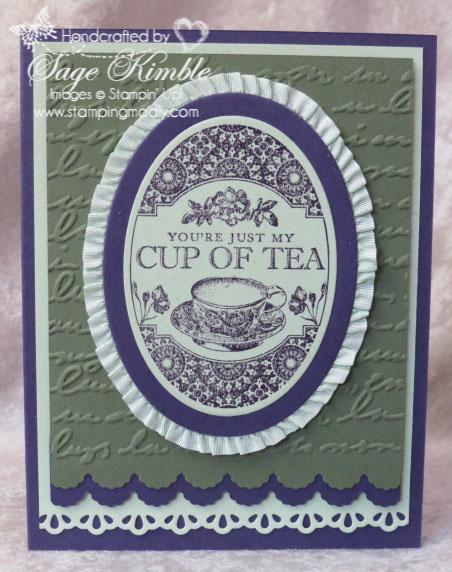 Handmade All Occasions Card with Tea Party stamp set and Pretty Print Embossing Folder from Stampin' Up!