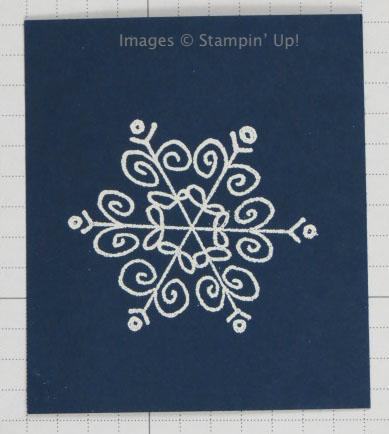 White Embossing Powder on navy card stock