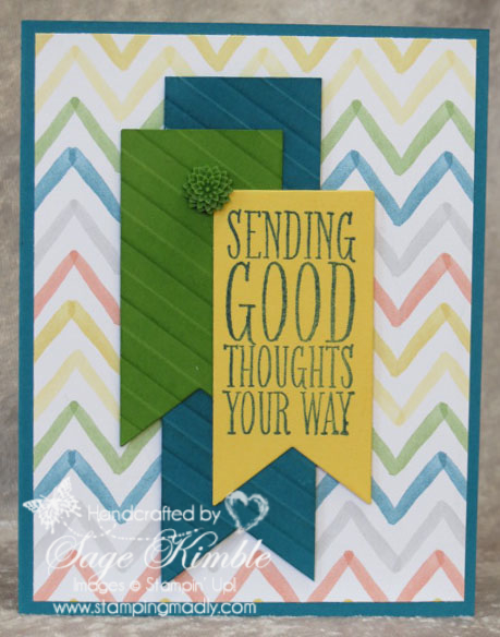 Handmade Card from Stamping Madly using Perfect Pennants stamp set and Banners Framelits