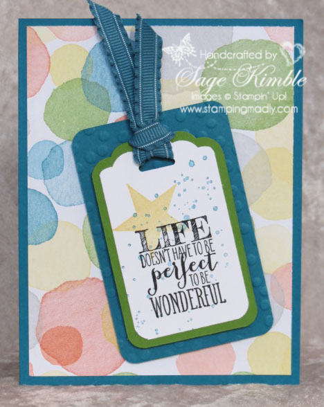 Lif is Perfect Card using Watercolor Wonder DSP and Perfect Pennants Stamp Set from Stamping Madly