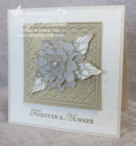 Elegant Handmade Wedding Card using Framed Tulips Embossing Folder from Stamping Madly