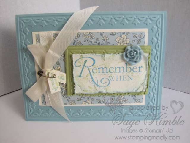 Handmade Card with Framed Tulips Embossing Folder from Stamping Madly