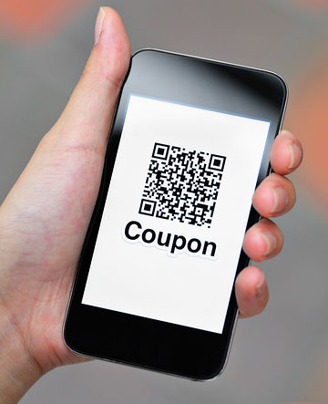 Coupon QR code on smart phone