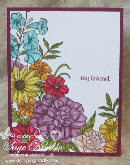 Hand-Colored Card from Stamping Madly made with the Corner Garden stamp