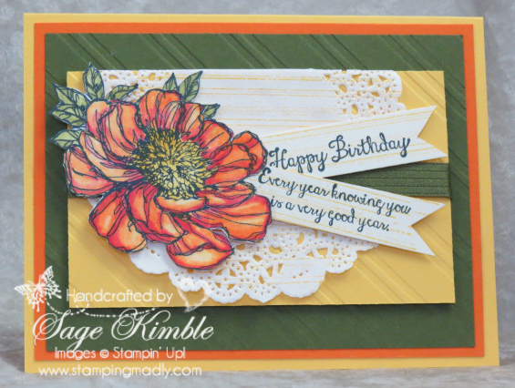 Handmade card with the Bloom with Hope stamp set from Stamping Madly