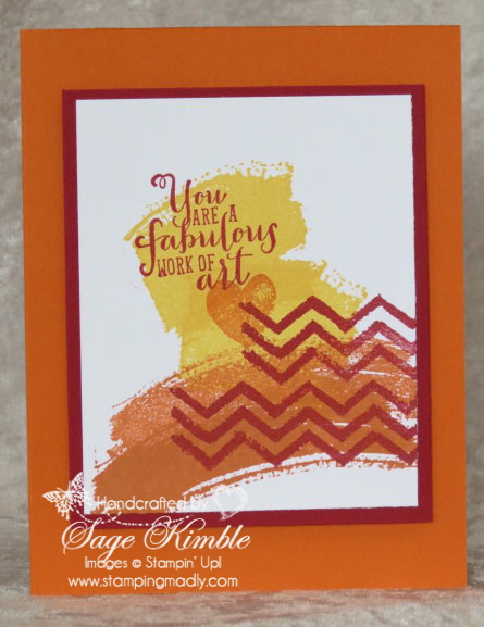 Handmade Card for Stamping Madly Newsletter subscribers, using Work of Art Stamp Set