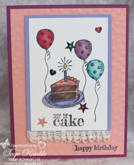 Sieze the Cake handmade birthday card from Stamping Madly