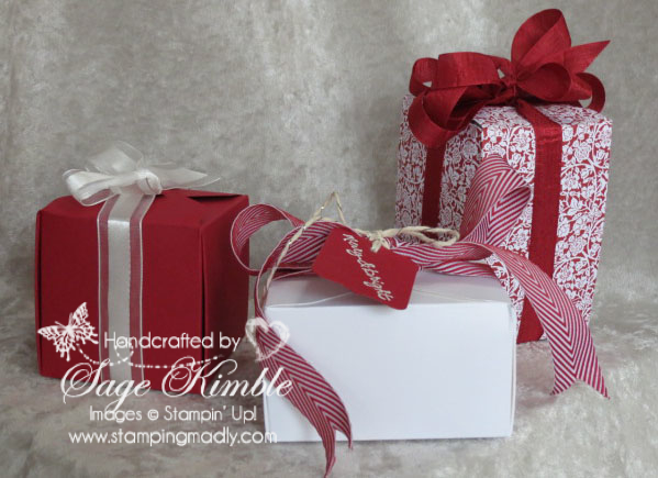 Handmade Christmas Gift Boxes made with the Gift Box Punch Board from Stampin' Up!