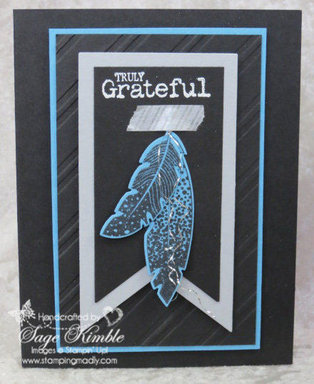 Handmade Thank You Card using Four Feathers Stamp Set