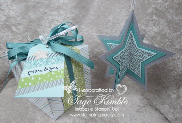 3D Star Ornament with All is Calm Gift Box & Tag from Stamping Madly