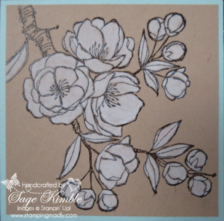 Detail:  Coloring Indescribable Gift stamp with Whisper White Craft Ink