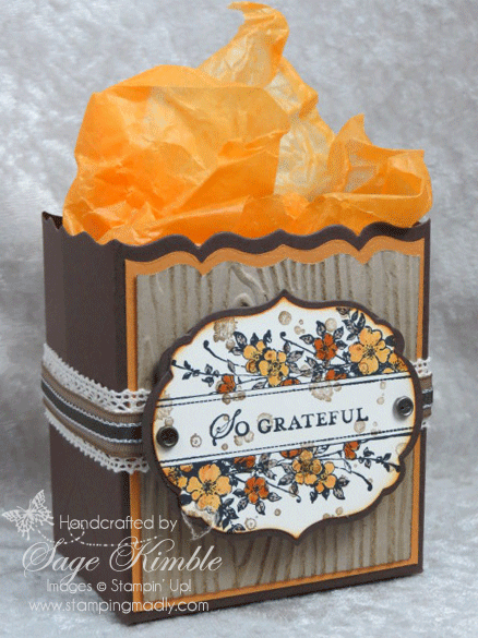Thanksgiving Treat Holder using Apothecary Art stamp set and Labels Framelits
