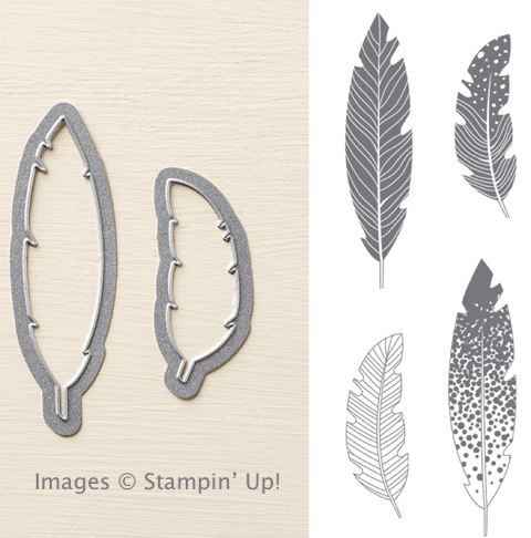 Four Feathers Bundle from Stampin' Up!, also available in wood mount