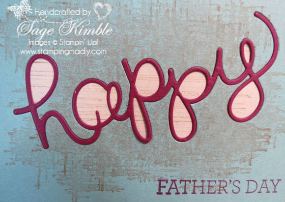 Handmade Father's Day Card using Crazy about You stamp set and Hello Thinlits from Stampin' Up!