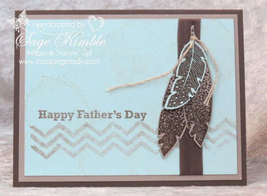 Handmade Father's Day Card using Four Feathers Stamp Set and Framelits from Stamping Madly