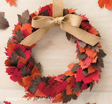 Autumn wreath made with Vintage Leaves stamp set and Leaflets Framelits Bundle from Stampin' Up!