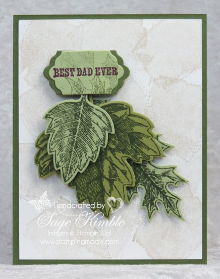 Handmade Father's Day Card using the Vintage Leaves stamp set and coordinating Leaflets Framelits, bundled for 15% savings from Stampin' Up!