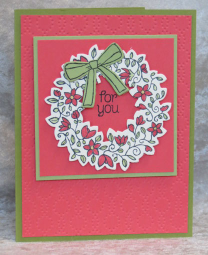 Handmade All Occasions Card from Stamping Madly using Circle of Spring stamp set and Wonderful Wreath Framelits
