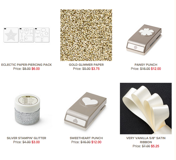 Click here for Weekly Deals from Stampin' Up! through 8/31.  Save 25% off paper crafting tools & supplies.