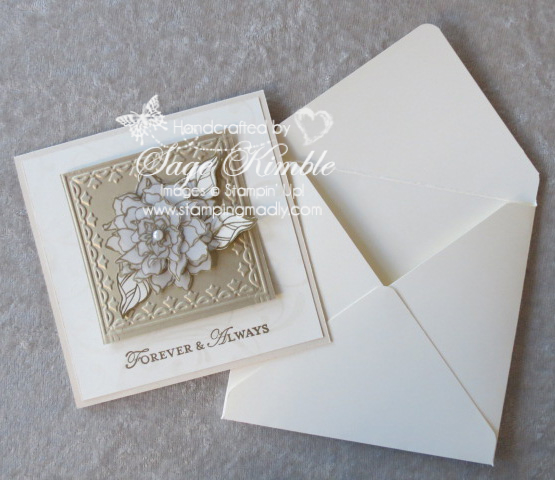 Handmade card and matching envelope from Stamping Madly