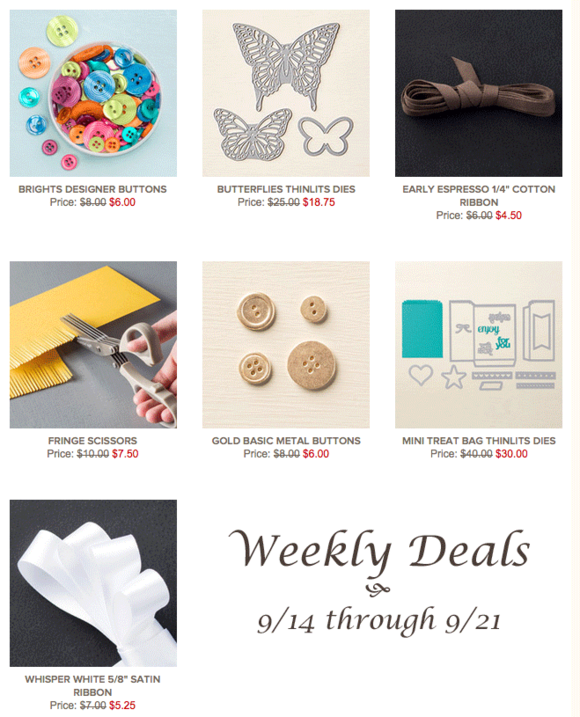 Save 25% when purchasing select paper crafting tools and supplies from Stampin' Up!'s Weekly Deals