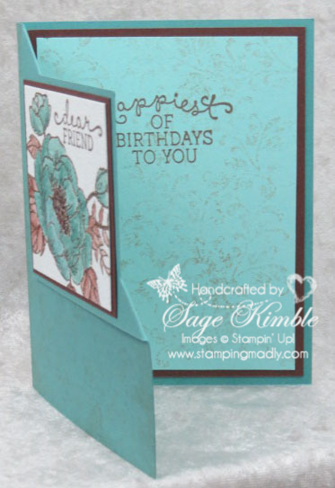 Handmade Corner Fold Birthday Card with Timeless Textures stamped inside, from Stamping Madly