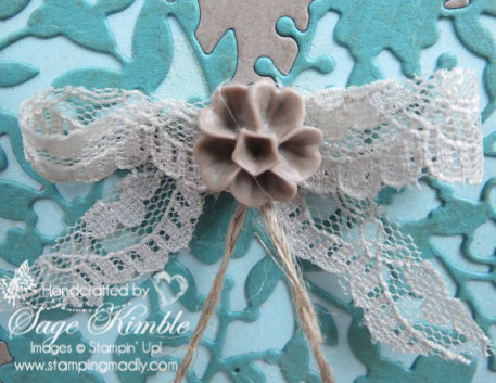 Sahara Sand Lace Bow and Tip Top Taupe Blossom Accent on Bloomin' Heart vintage inset card from Stamping Madly