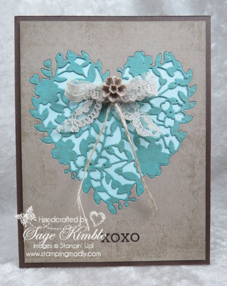 "Handmade card from Stamping Madly using Bloomin' Hearts Thinlits, embellished with Shara Sand 7/8"" Lace Trim from Stampin' Up!"
