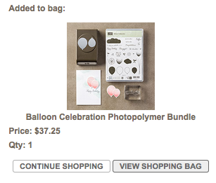 Continue Shopping or View Shopping Bag in Stampin' Up! Online Store