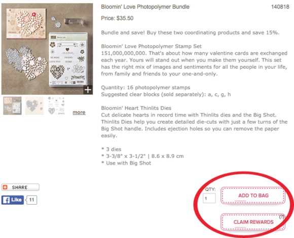 Add to Bag or Claim Rewards in Stampin' Up! Online Store