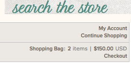 Shopping Bag and Continue Shopping Links in Stampin' Up! Online Store