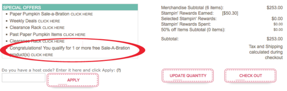 Order Sale-a-Bration items in Stampin' Up!'s Online Store