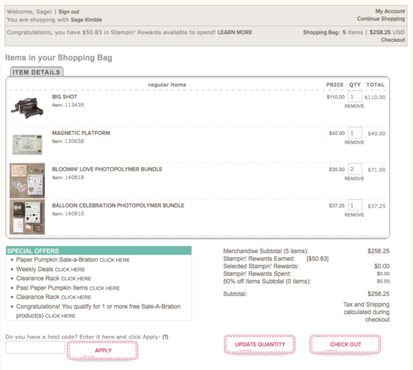 Shopping Bag screen in Stampin' Up! Online Store