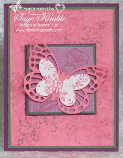 Handmade all occasions card from Stamping Madly using new In Color, Flirty Flamingo