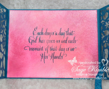 Blended Inks Background in handmade card from Stamping Madly, using the Detailed Floral Thinlits from Stampin' Up!