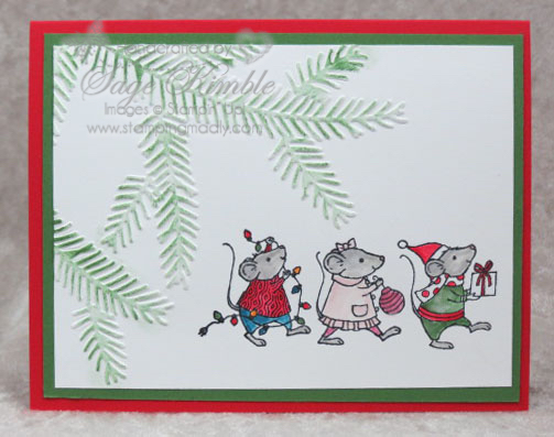 Handmade Christmas Card from Stamping Madly using Merry Mice stamp set from Stampin' Up!