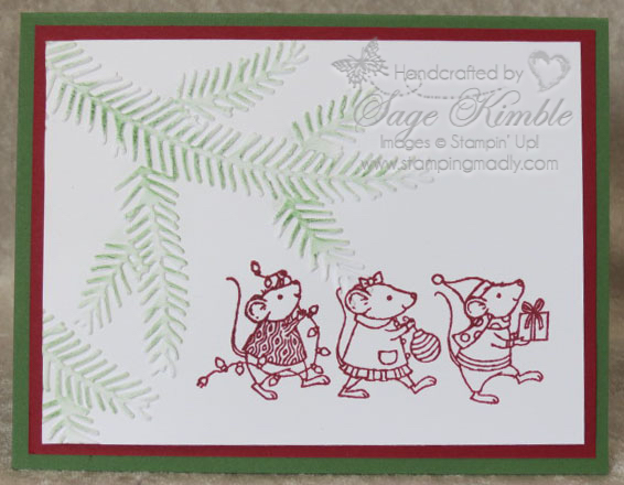 Quick and easy handmade Christmas Card with embossing, using Merry Mice stamp set and Pine Bough Embossing Folder