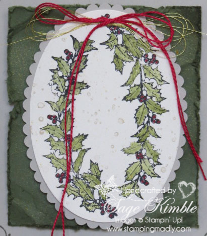Detail of handmade vintage Christmas card from Stamping Madly