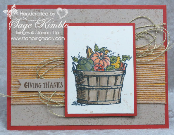 Handmade card of Thanks from Stamping Madly, using the Basket of Wishes stamp set from Stampin' Up!