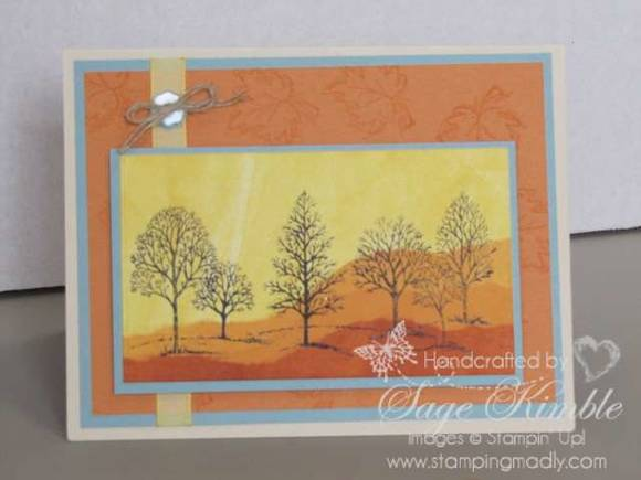 Fall Card from Stamping Madly using a Brayered Background and Lovely as a Tree Stamp Set from Stampin' Up!