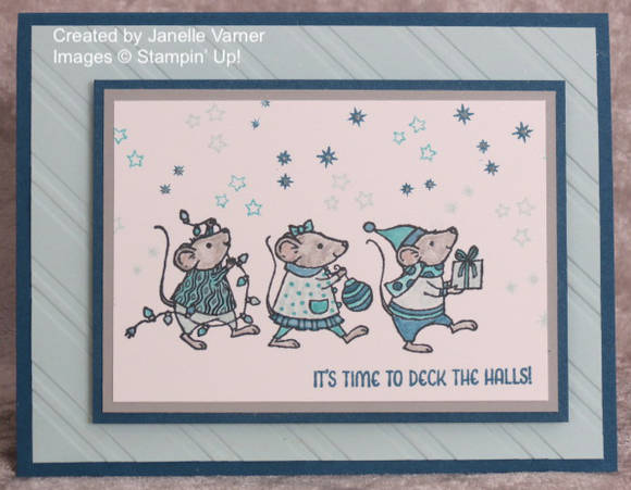 Handmade Christmas Card using Merry Mice stamp set from Stampin' Up!, designed by Janelle Varner