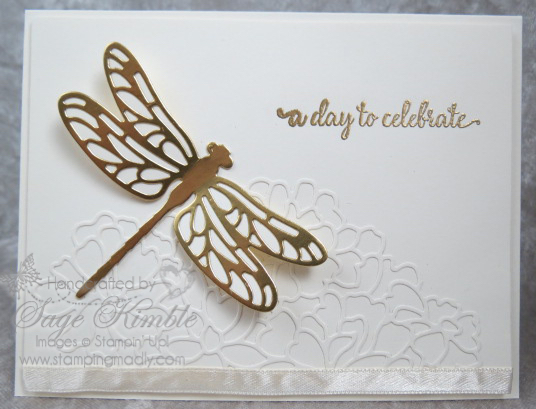 Handmade wedding card from Stamping Madly, using Dragon Fly Dreams and So in Love Bundles from Stampin' Up!