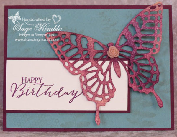 Handmade Birthday Card from Stamping Madly, using the Butterfly Basics Stamp Set and Butterflies Thinlits from Stampin' Up!