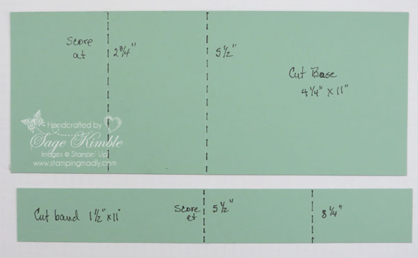 Template for cutting and scoring Double A Fold Card from Stamping Madly