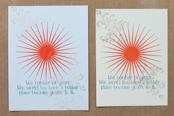 Handmade card designing--practice pieces