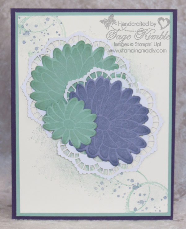 Handmade card from Stamping Madly with abstract background and flowers from Special Reason Bundle