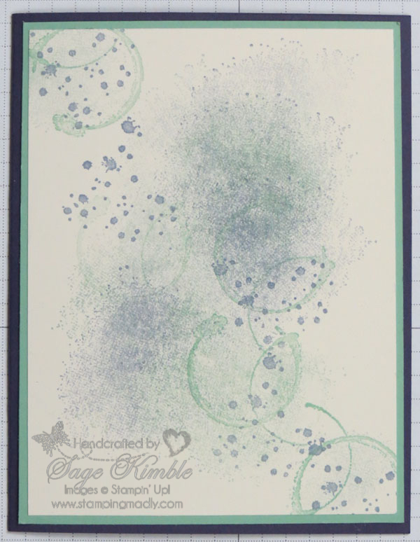 Final version of abstract background for handmade card from Stamping Madly