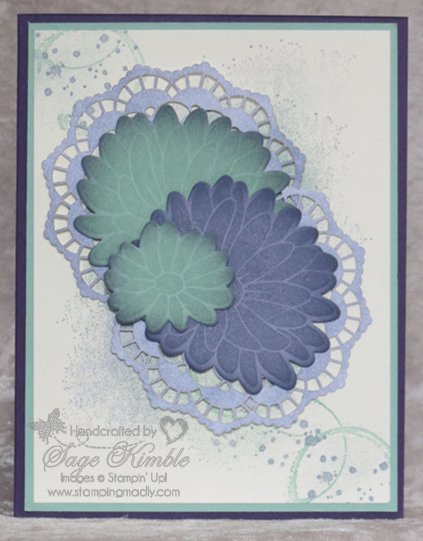Finished handmade card from Stamping Madly with abstract background and flowers from Special Reason Bundle