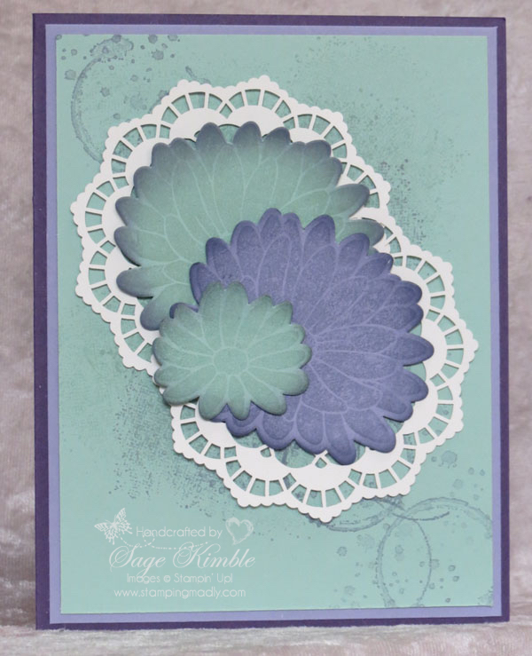 Handmade card from Stamping Madly with abstract background and flower from Special Reason Bundle